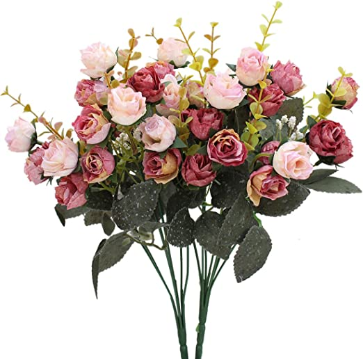 Artificial Flowers 12 heads Dew Drop Rose Bush with Buds and Rose Leaves