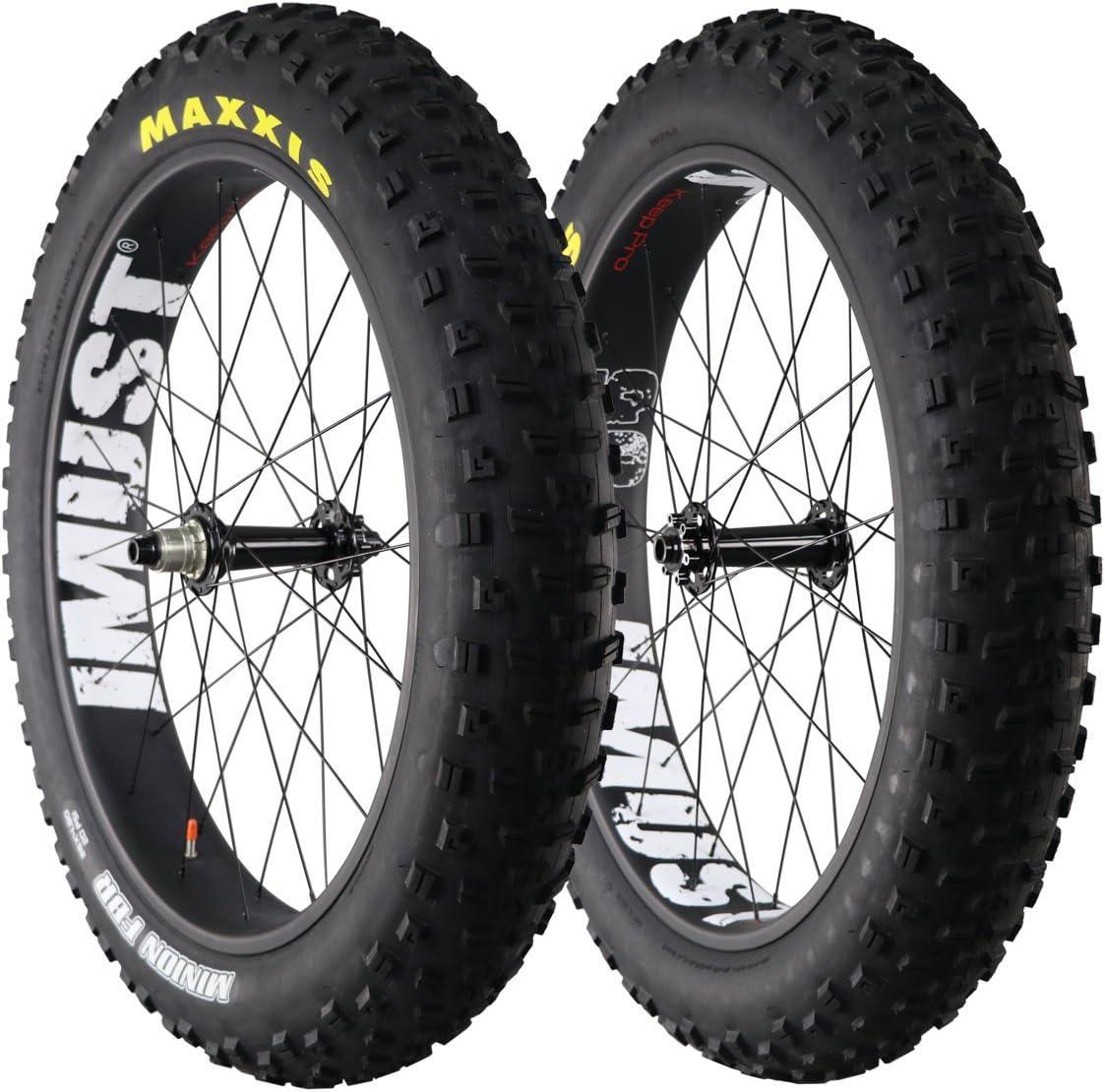 IMUST(アイマシト)26ER 90mm幅 カーボン ファットバイク クリンチャー ホイールセット+タイヤ 1ペア  フロント:135x15mm リア:190x12mm