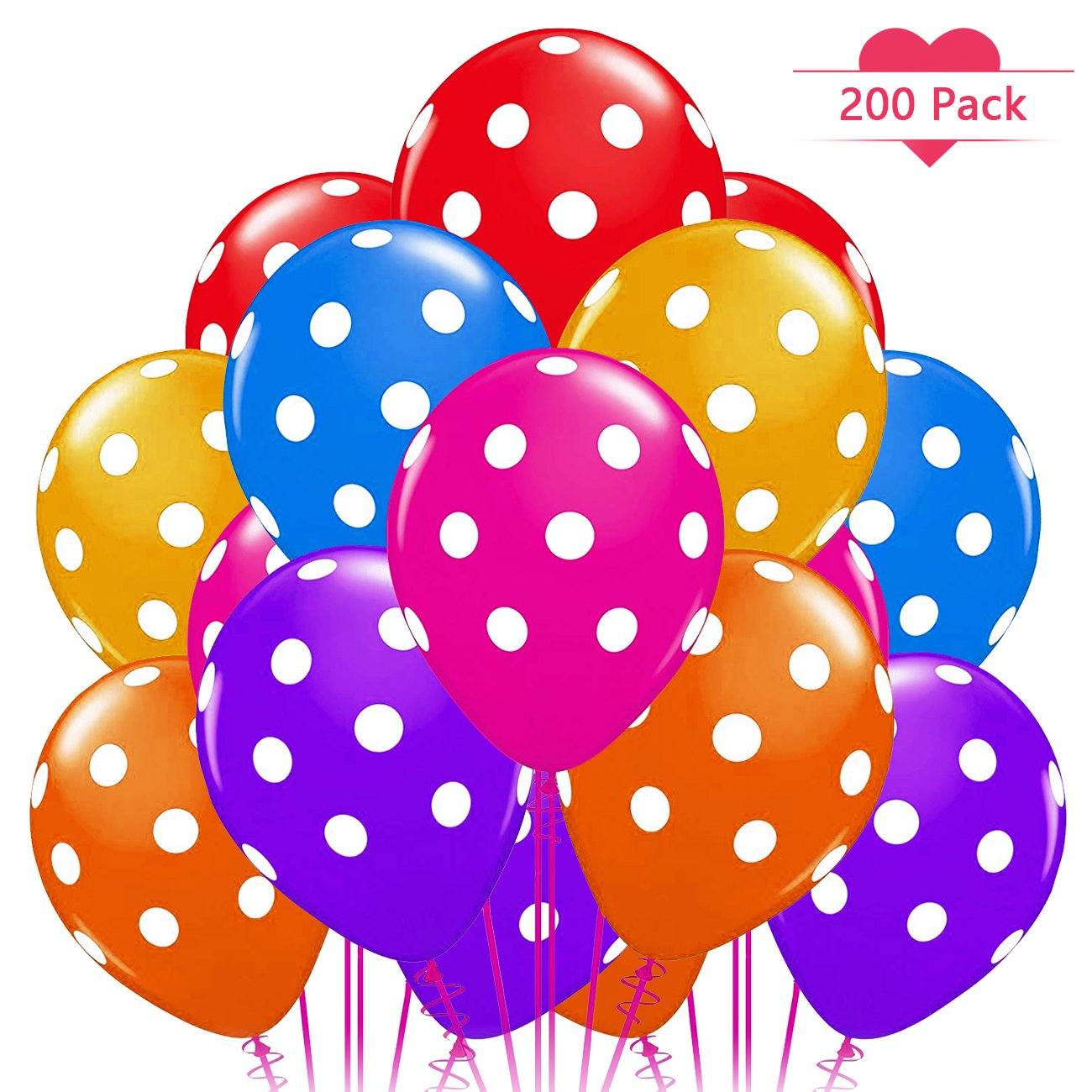 200 Pack Assorted Polka Dots Balloon 15'' (3g) Latex Helium Balloons for Wedding Birthday Party Festival Christmas Decorations Kids Toys