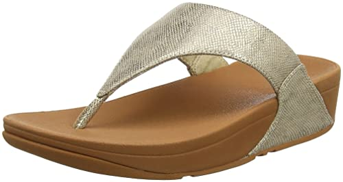 Fitflop Women Lulu Toe Thong Sandals-Shimmer Print, Gold (Gold Shimmer-Print
