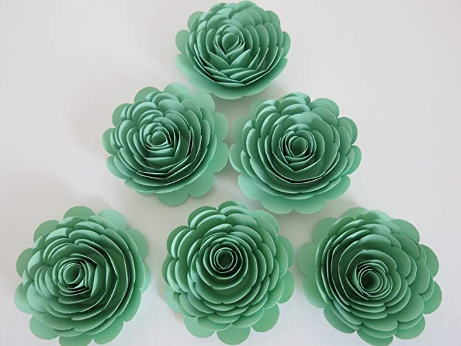 Amazon handmade paper flowers mint green 3 roses set of 6 handmade paper flowers mint green 3quot roses set of 6 baby shower mightylinksfo