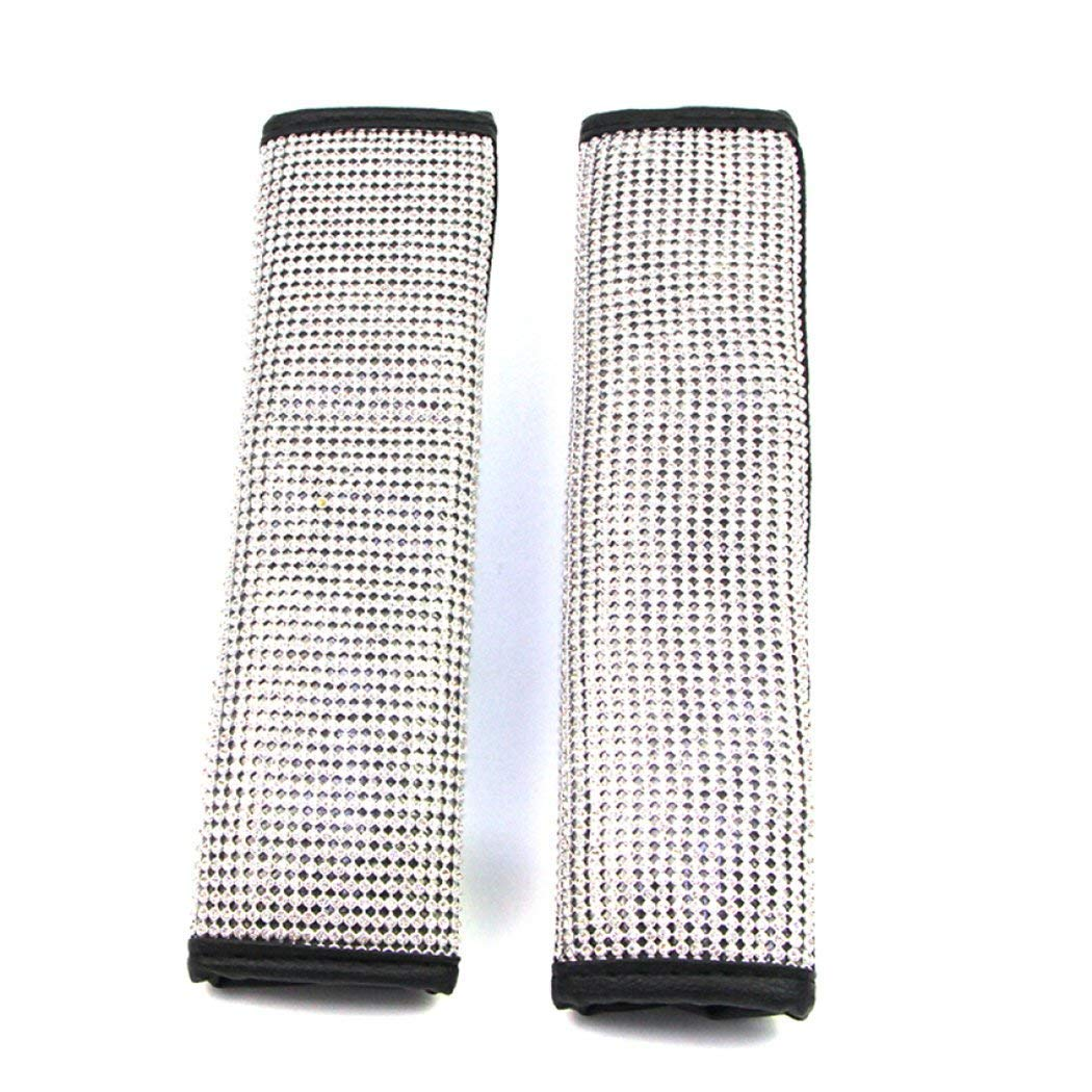 Bling MLOVESIE 2 Packs Leather Seat Belt Shoulder Pads with Crystal Bling Bling Rhinestones for Girls,Lady Universal Fit
