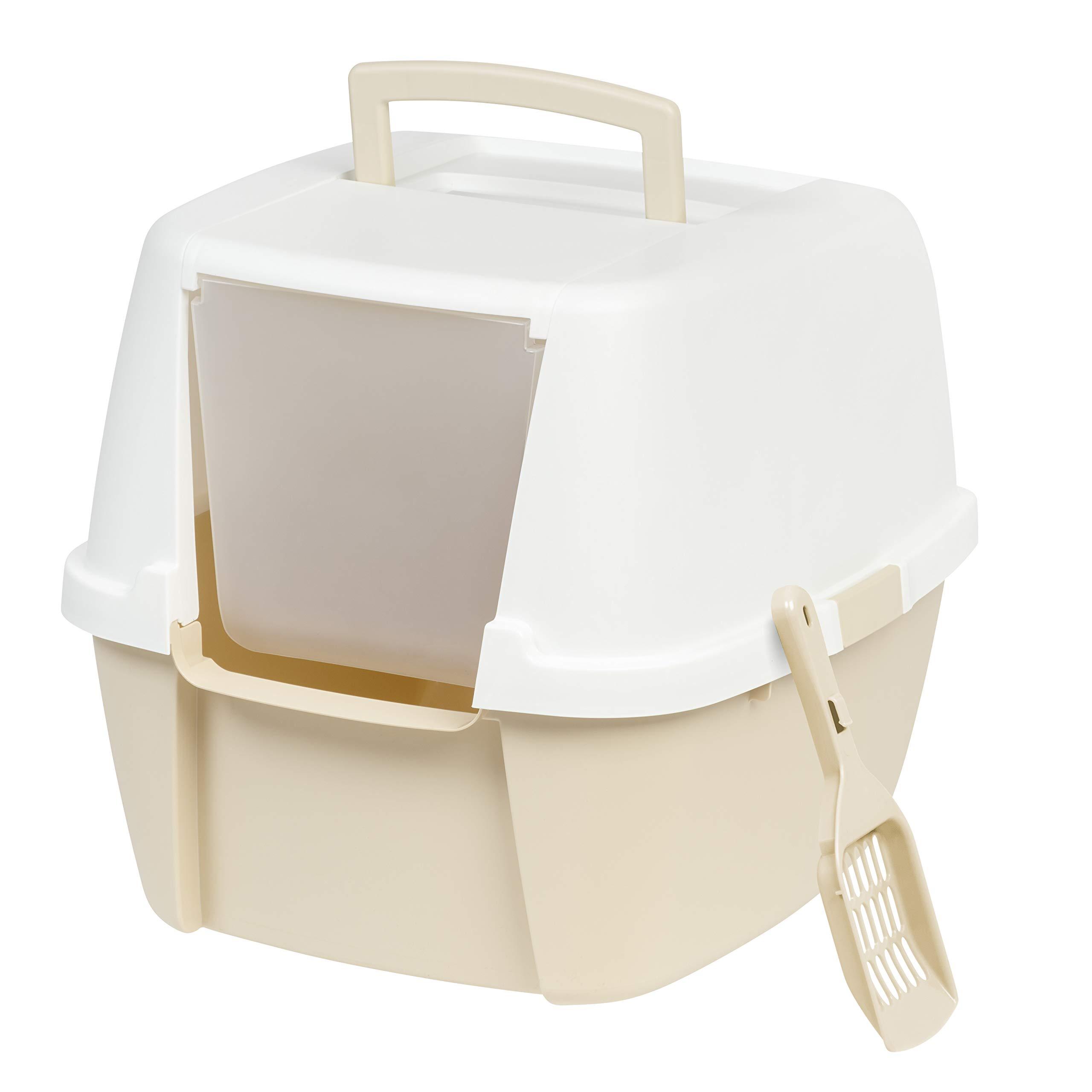 IRIS Jumbo Hooded Litter Box with Scoop, Almond by IRIS USA, Inc.