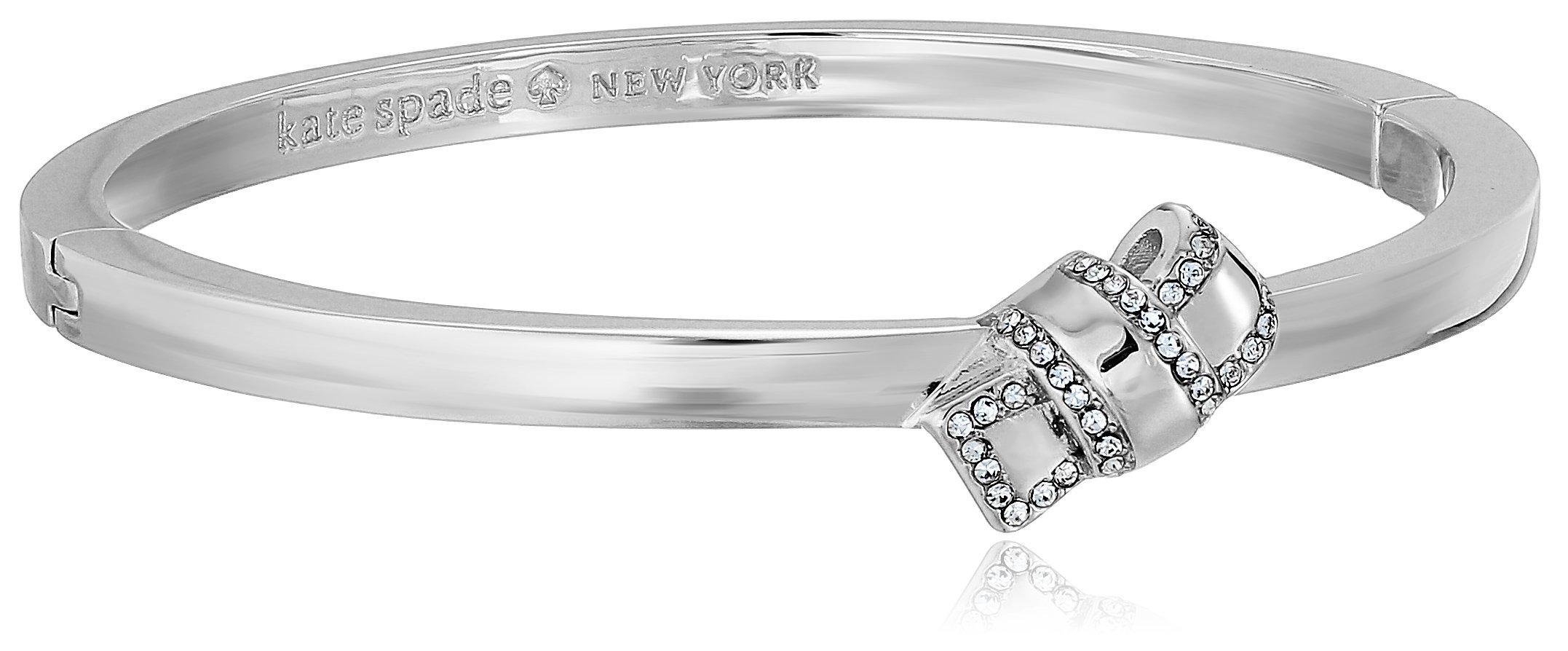 Kate Spade New York Pave Knot Hinged Silver Bangle Bracelet