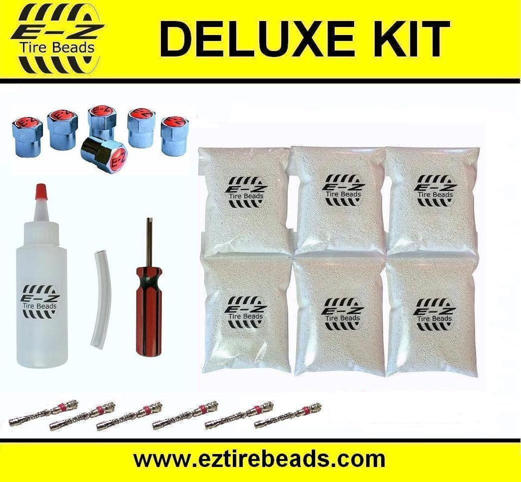 E-Z Tire Balance Beads Deluxe Kit Dually Truck 5 oz Six-Pack (6 bags of 5 oz Balancing Beads) 30 Ounces Total, Applicator Kit, Filtered Valve Cores, Red Caps