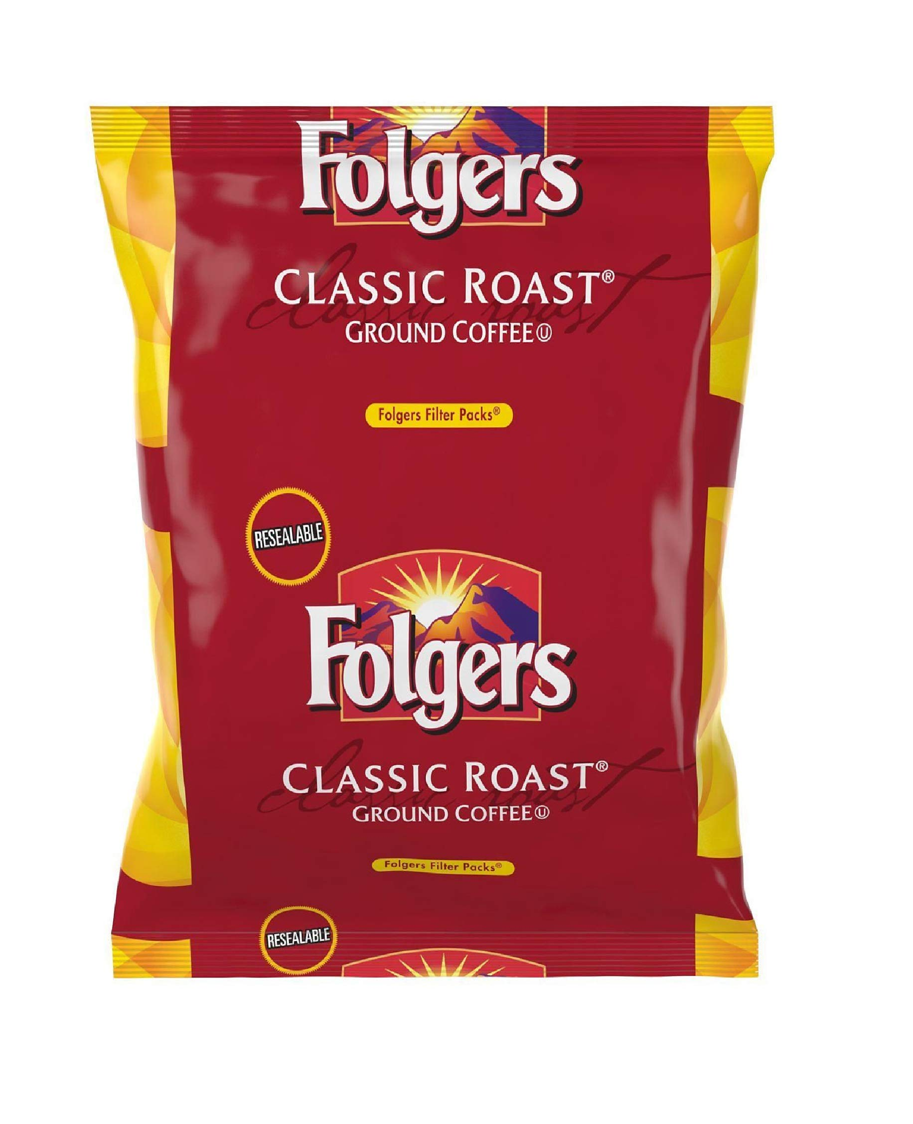Folgers Classic Roast Filter Packs, Premeasured Ground Coffee and Filter in a Single Pouch, 4 Boxes 160 Count