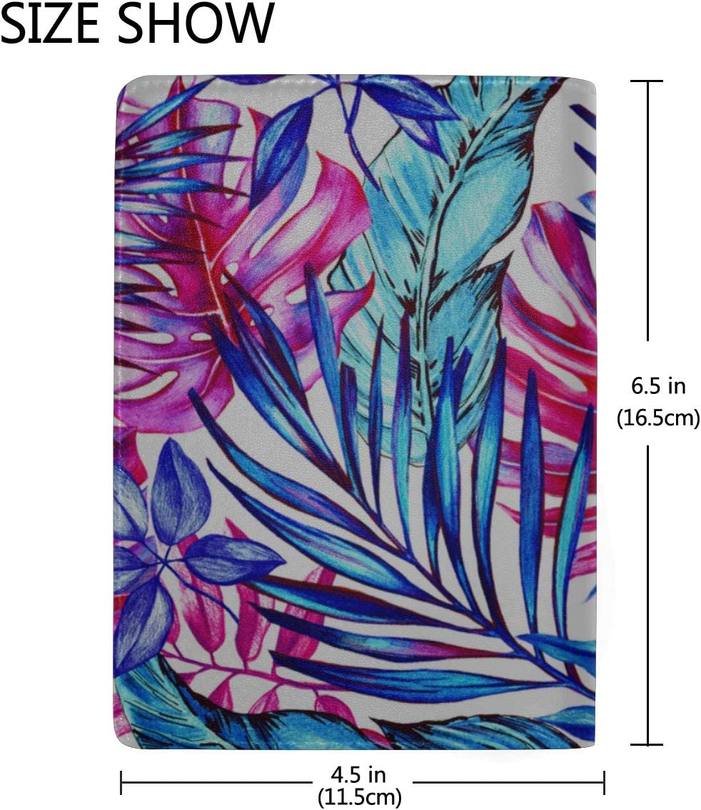 Tropical Banana Leaf Fern Frond Blocking Print Passport Holder Cover Case Travel Luggage Passport Wallet Card Holder Made With Leather For Men Women Kids Family