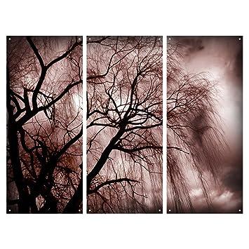 Amazoncom 3 Piece Wall Art Nature Dark Tree Plexi Glass Art