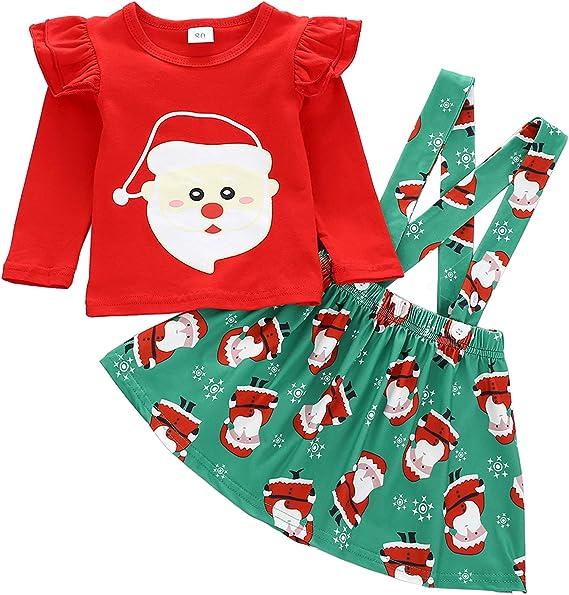 US 2pcs Kids Baby Girl Christmas T-Shirt Tops Santa Claus Pants Outfits Xmas Set