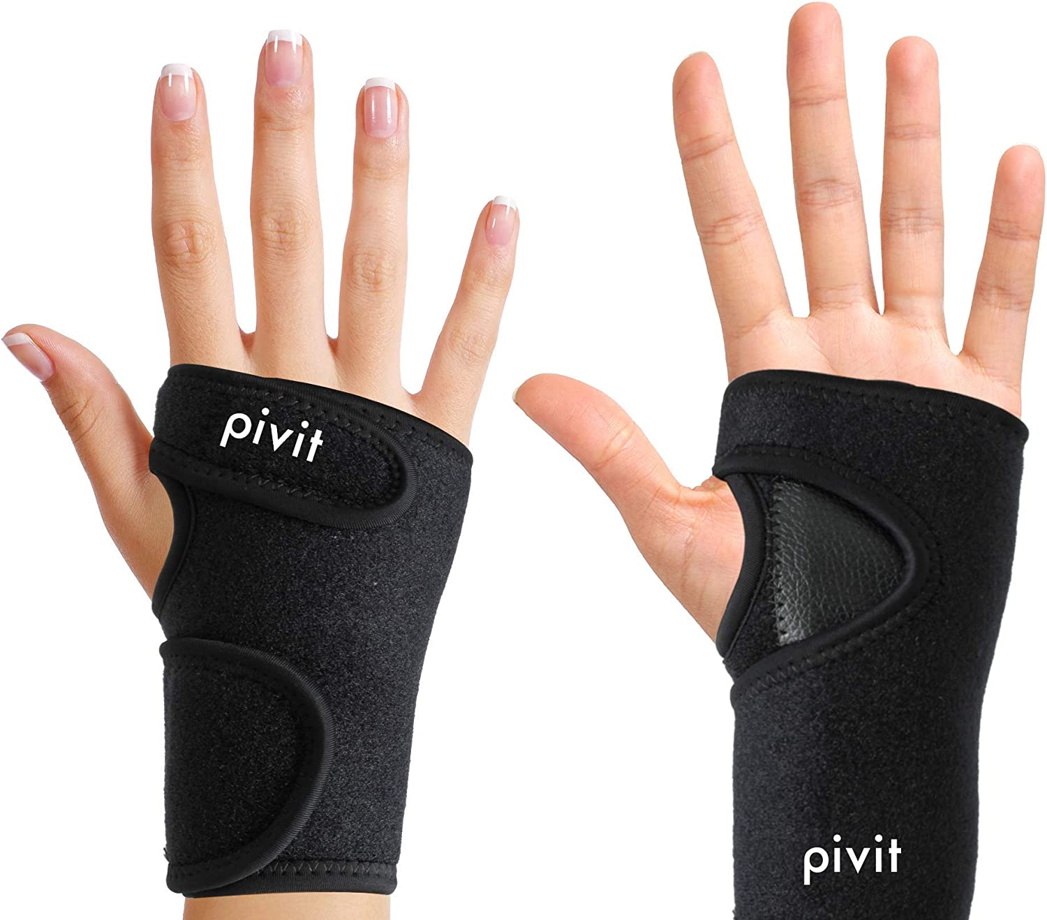 Pivit Antibacterial Carpal Tunnel Wrist Support Brace | Universal Hand Compression Wraps Fit Left or Right Hands | Duo Adjustable Straps & Removable Splint | Prevents Stains & Odor Causing Bacteria
