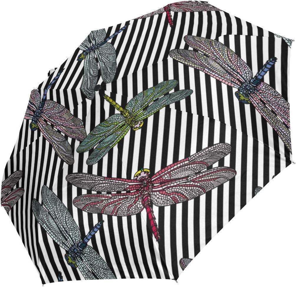 Pattern Dragonfly Rotary Microphone fashion print cute Windproof automatic tri-fold umbrella sun UV protection Sun umbrella