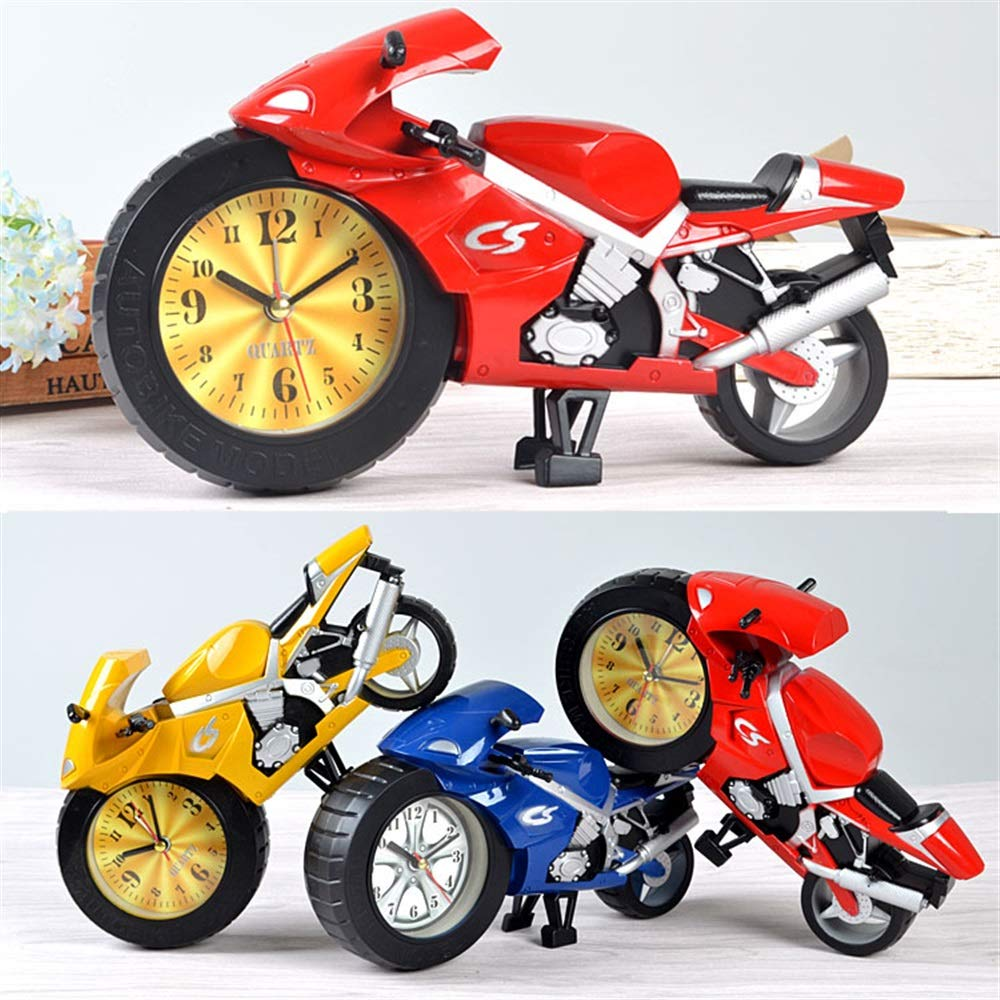 Tuersuer Warm and Beautiful Alarm Clock Creative Gift Lazy Student Kids Cartoon Portable Clock Personality Bedroom Mini Clock Motorcycle A (Color : Yellow)