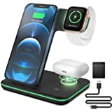 ZEBRE Wireless Charger, 3 in 1 Qi-Certified 15W Wireless Charging Station Dock Compatible with All Apple Watch, AirPods Pro,