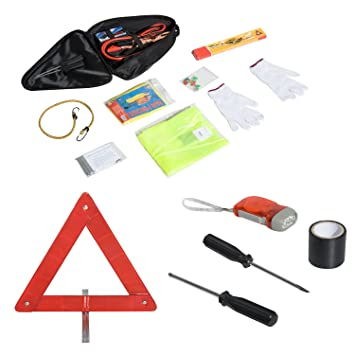 Set of 12 Ultimate Car Safety Driving Travel Kit Emergency Breakdown Road Safety Kit EU Vehicle Car Van Caravan Warning Triangle Tools WSS