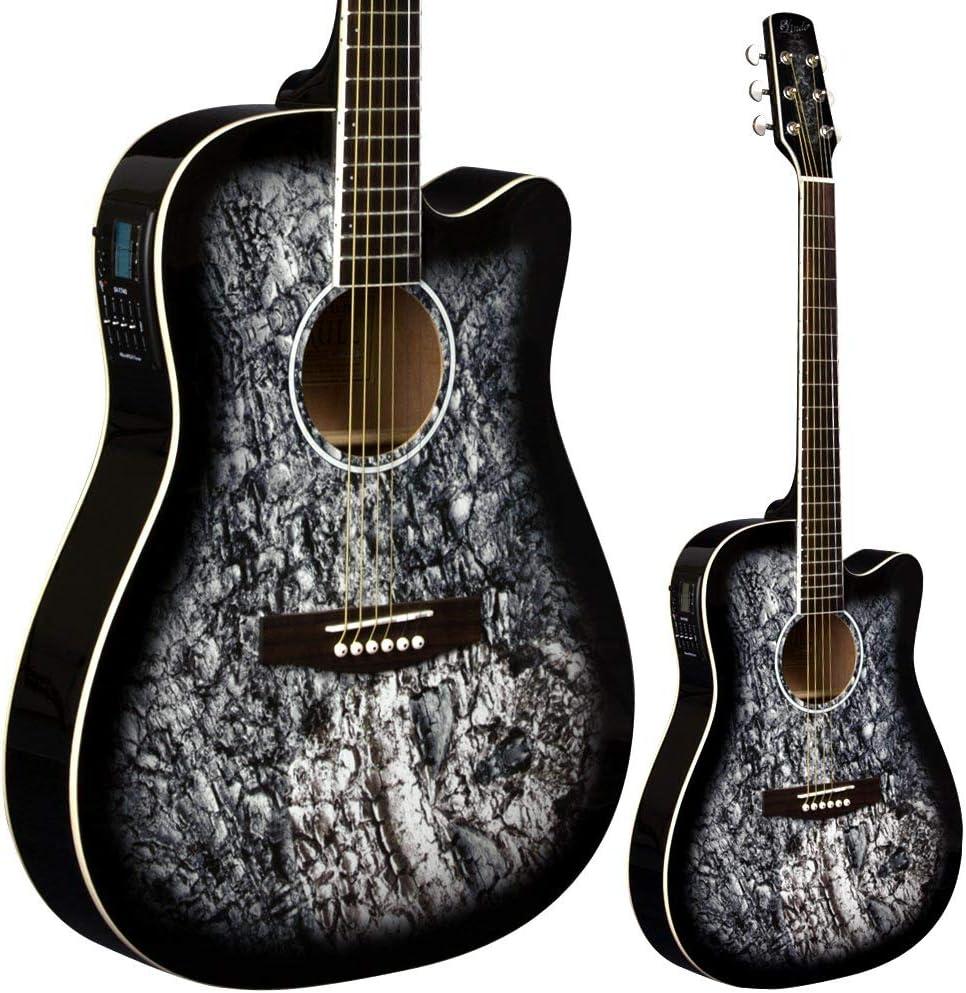 Lindo Guitars - Guitarra electroacústica (preamplificador F-4T, afinador digital LCD, funda), diseño de calavera, color negro satinado: Amazon.es: Instrumentos musicales