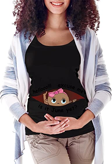 Peeking Baby Girl Black Maternity Soft T-Shirt