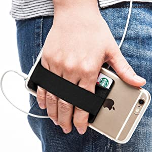 Sinjimoru Phone Grip Card Holder, Cell Phone Wallet Sticker for Back of Phone with iPhone Finger Gripper Storing Credit Cards, ID Holder Card Wallet. Sinji Pouch Band, Black