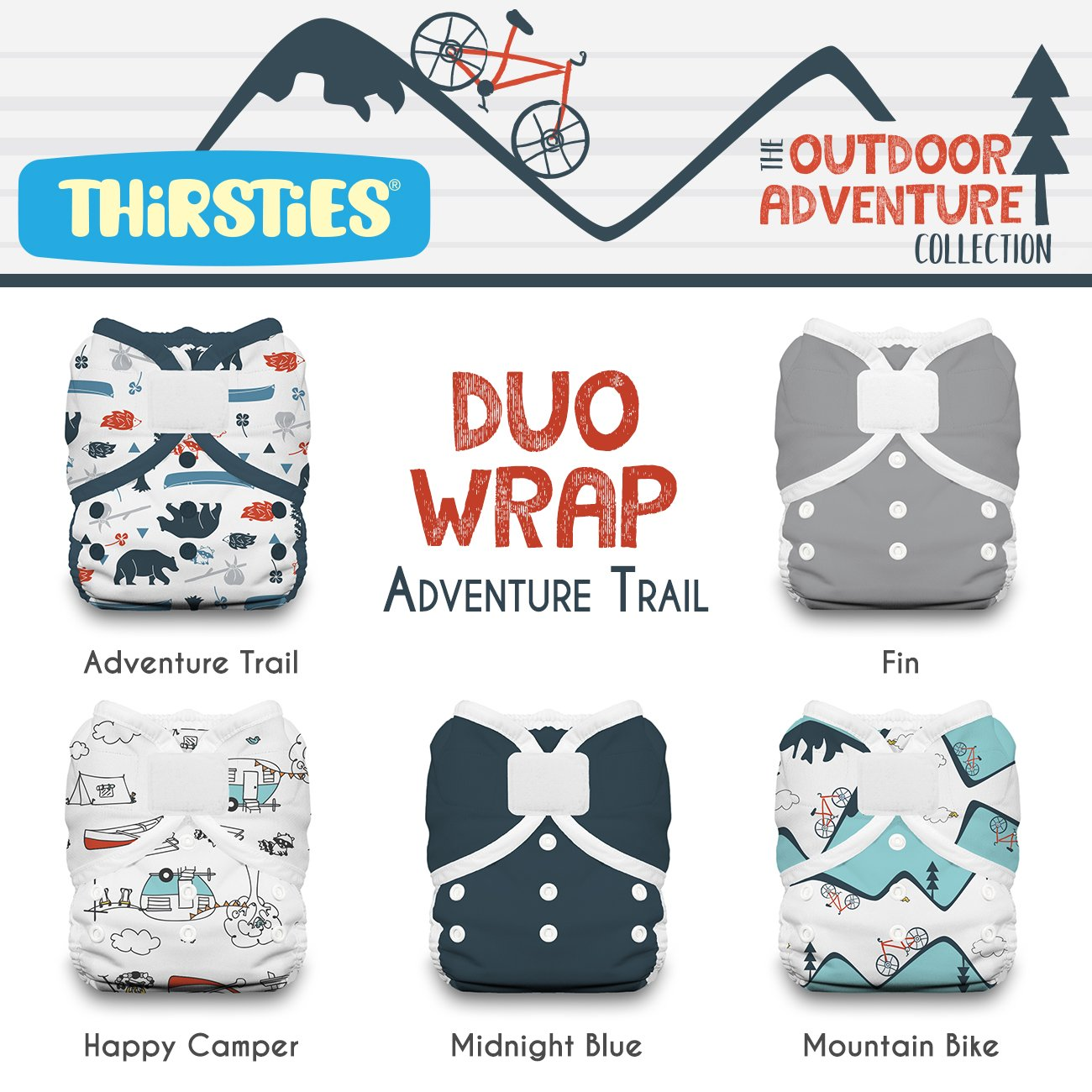 Thirsties TDWPHLOACAT2 Package Duo Wrap Hook & Loop Outdoor Adventure Collection, Adventure Trail, Size Two (18-40-pound)