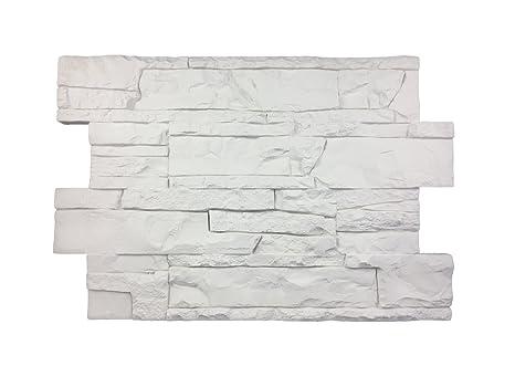 Rivestimento parete per cucina • camere da letto • balconi • salotto |  Arredamento per casa effetto pietra rustico | 60cm x 40cm (bianco e grigio)