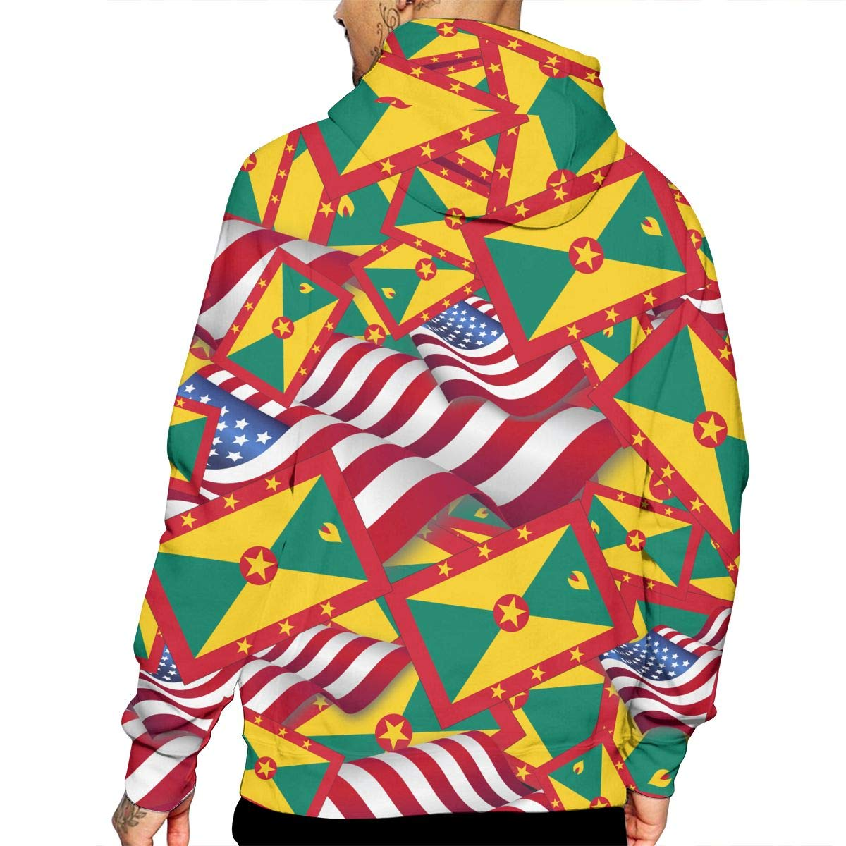 CHETI Grenada Flag with America Flag Mens Pullover Hoodies Hooded Sweatshirts