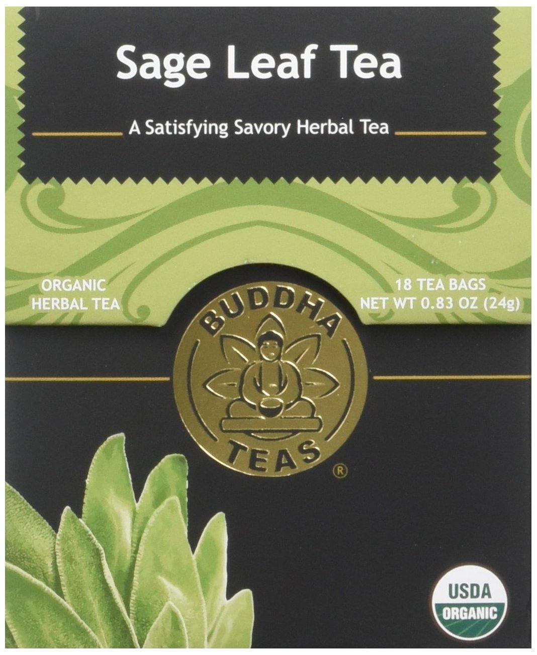 Organic Sage Leaf Tea - Kosher, Caffeine-Free, GMO-Free - 18 Bleach-Free Tea Bags