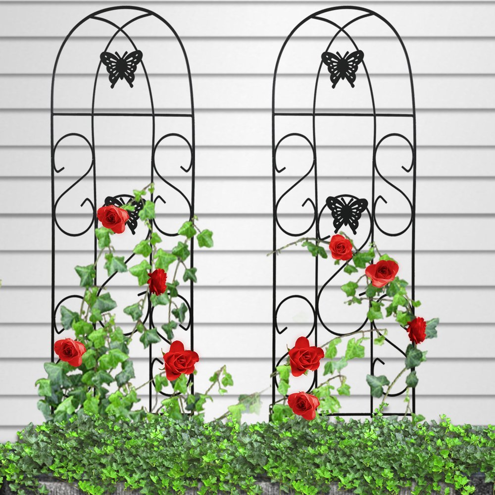 Amagabeli 60'' x 18'' Rustproof Black Iron Butterfly Garden Trellis for Climbing Plants Potted Vines Vegetables Flowers Patio Metal Wire Lattices Grid Panels for Ivy Roses Cucumbers Clematis Pots 2 Pack