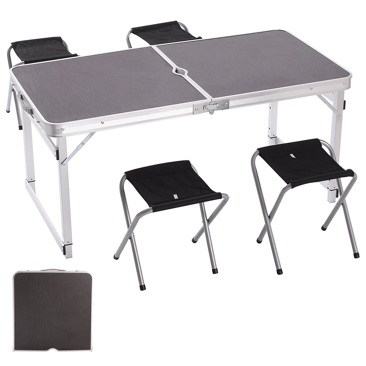 Camp Solutions Portable Folding Table Sturdy And Lightweight Aluminum Legs with 4 Folding Chairs, 3 Adjustable Heights feet, for Indoor/Outdoor Use, Camping Picnic, Party Dining, Black