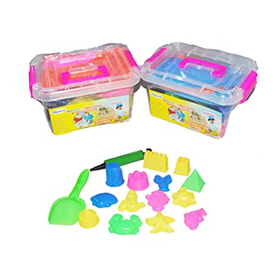 2 boxes of 1.2lb Ultimate Sealife and Castle Ispace Deluxe sands alive play Set, Includes14 Molds and Play Tray Shovel, Educational Toy