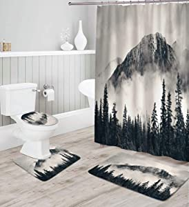 Coxila Dark Forest Shower Curtain Sets Bath Mat 4 Pcs Decor Bathroom Mountain Scene Misty Landscape Nature Painting Tree Contour Mat Toilet Lid Cover U Shaped Non-Slip Rug Fabric Polyester 60x72 Inch