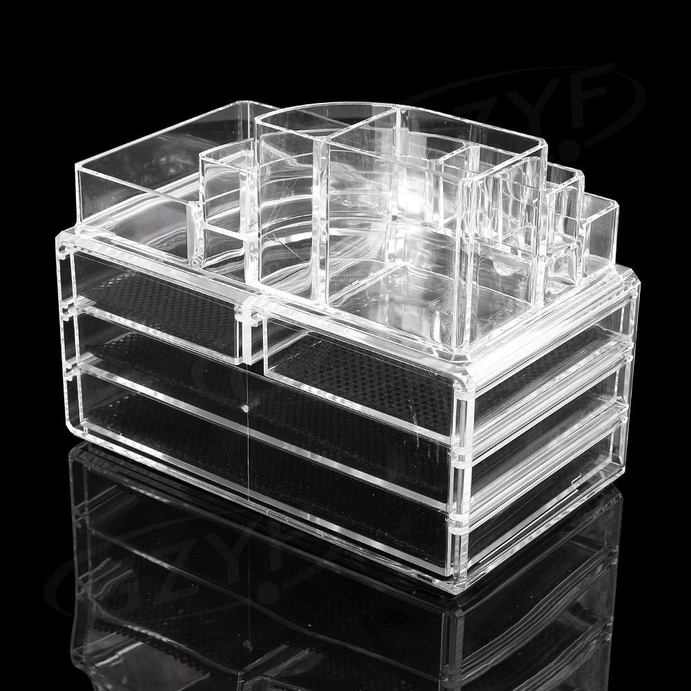 GZYF Acrylic Makeup Cosmetic Organizer Case 4-Drawer Jewelry Display Holder Box Storage, Mother's Day Gift