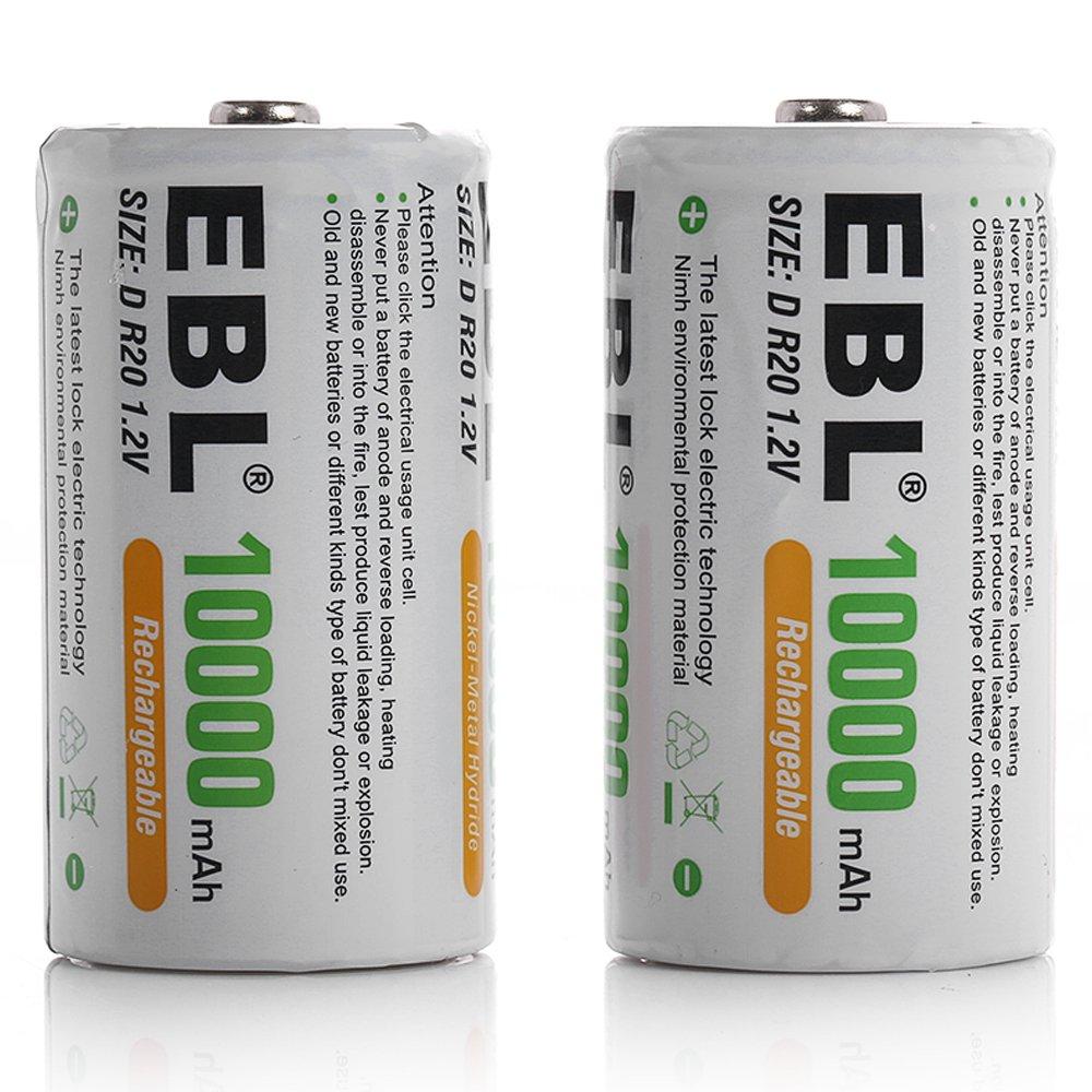 EBL D Size Rechargeable Batteries D Cell 10000mah NiMH Battery, 2 Counts