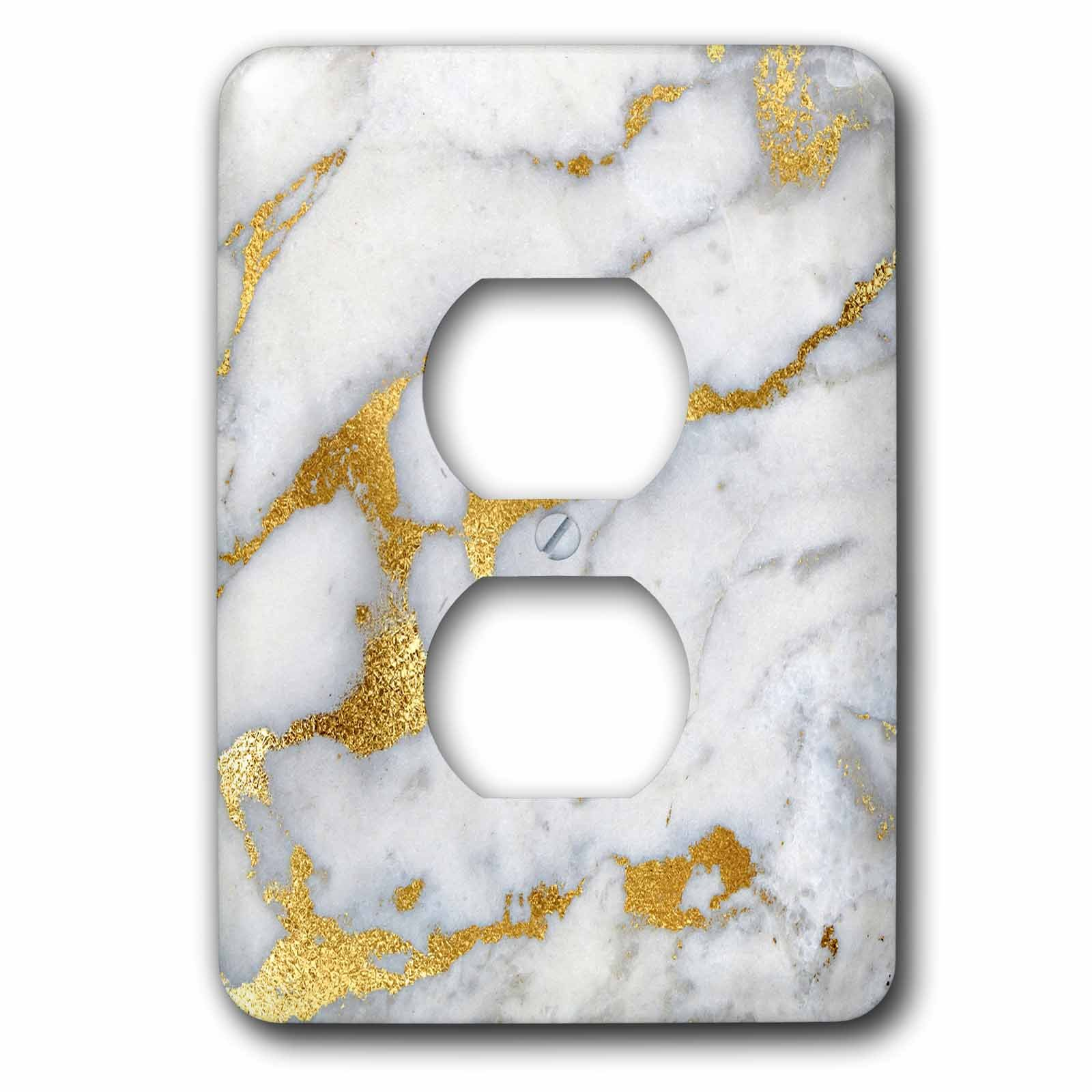 3dRose LSP_268835_6 Image of Luxury Grey Gold Gem Stone Marble Glitter Metallic Faux Print Plug Outlet Cover,