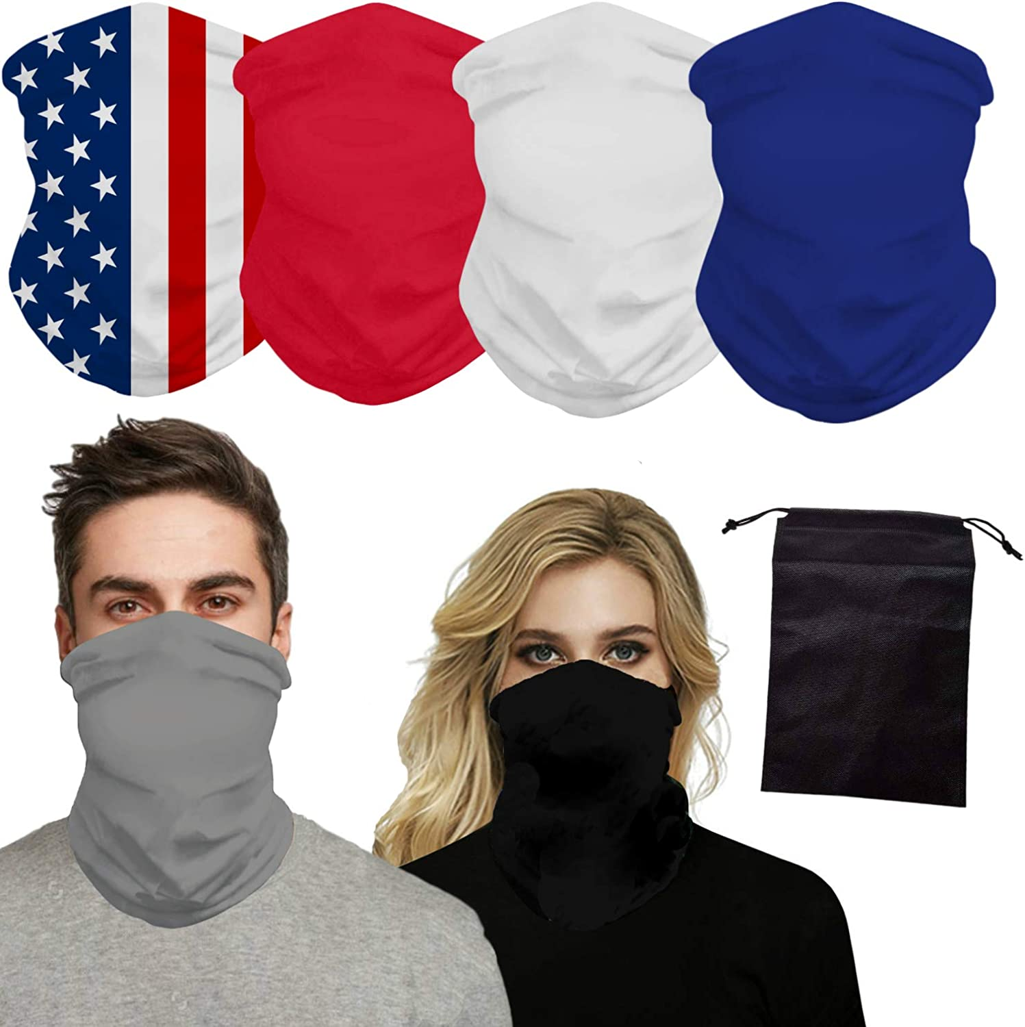 Pendant Sports Protective Face Cover - 6 Pack with Bonus Storage Pouch Scarf Bandanna Balaclava Dust Mask Neck Gaiter Sun Wind Blocking Face Protection for Cycling Hiking Boating Fishing Hunting