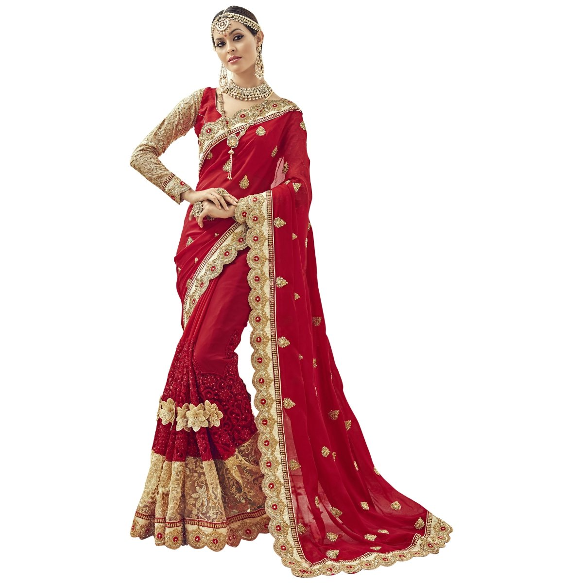 Triveni Women's Indian Red Colored Embroidered Faux Georgette Net Wedding Saree