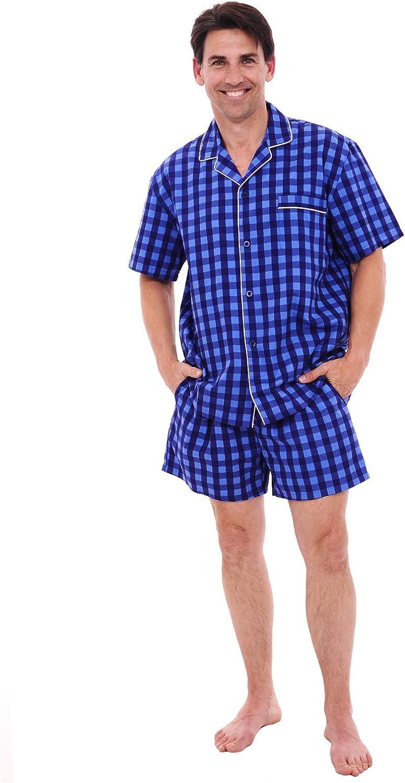 Alexander Del Rossa Mens Woven Cotton Pajama Set, Button-Down Shorts Pjs
