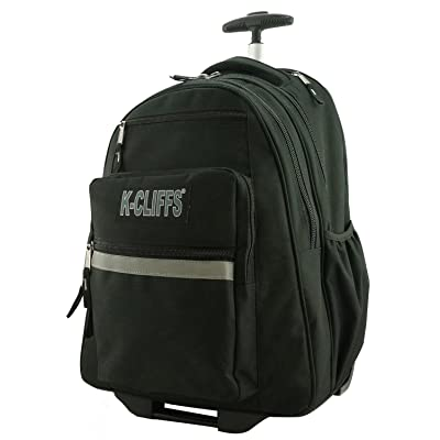 K-Cliffs Heavy Duty Rolling Backpack School Backpacks with Wheels Deluxe Trolley Book Bag Wheeled Daypack Workbag Multiple Pockets Bookbag with Safety Reflective Stripe Black | Kids' Backpacks