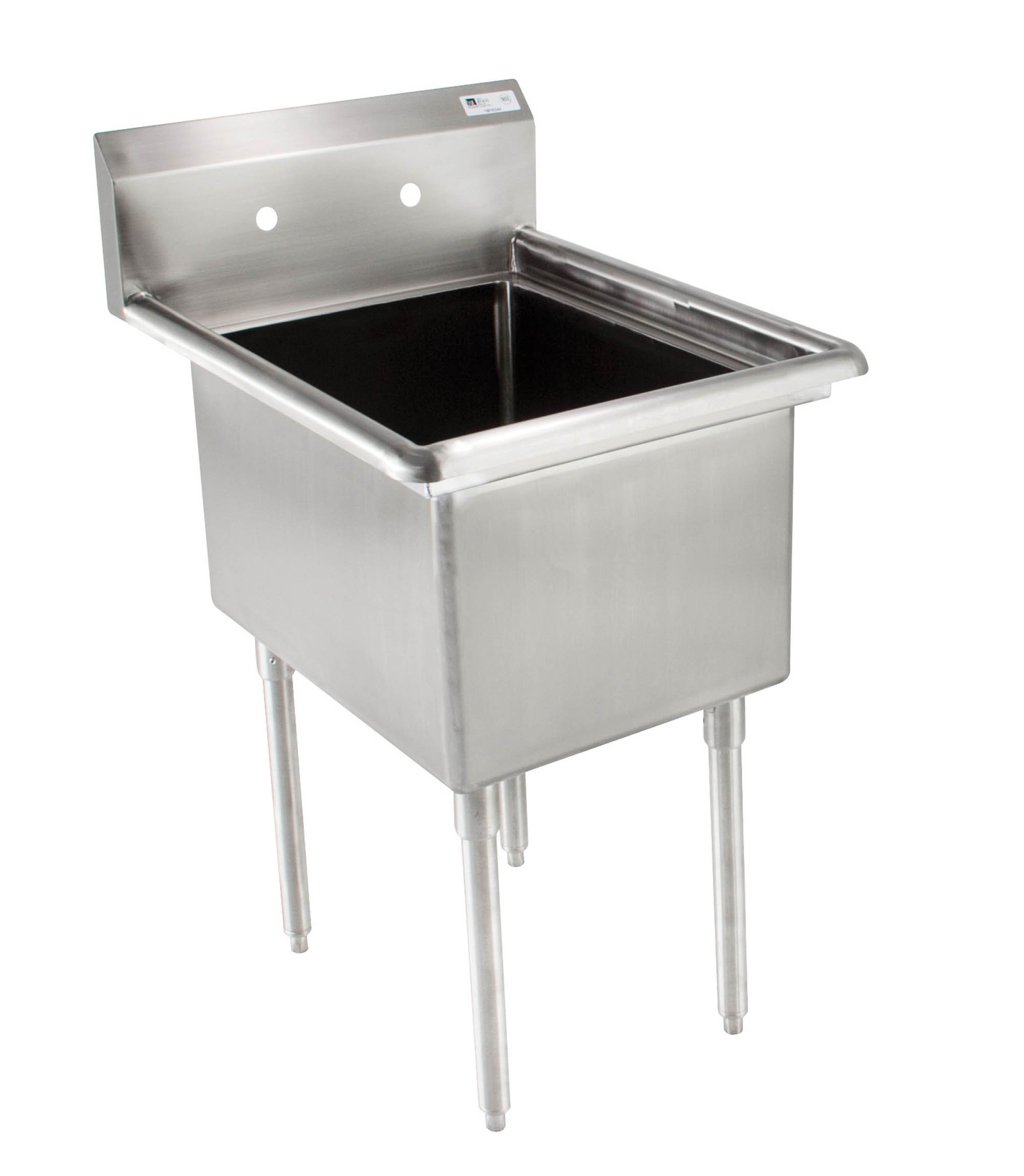 John Boos E Series Stainless Steel Sink, 12'' Deep Bowl, 1 Compartment, 23'' Length x 23-1/2'' Width