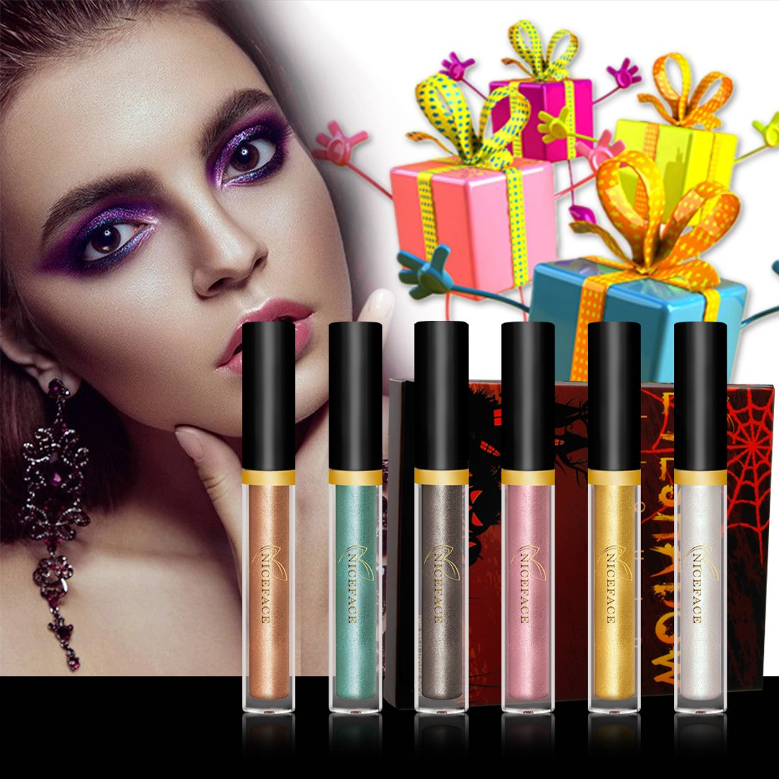 Liquid Eyeshadow - Waterproof Glitter Shimmer Liquid Eyeliner Eyeshadow with 6 Colors