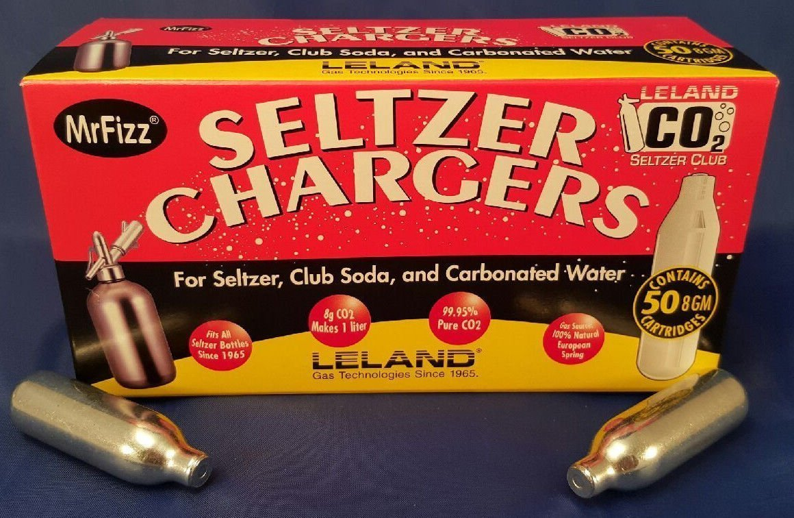100 ea Leland Soda Chargers Seltzer Chargers CO2