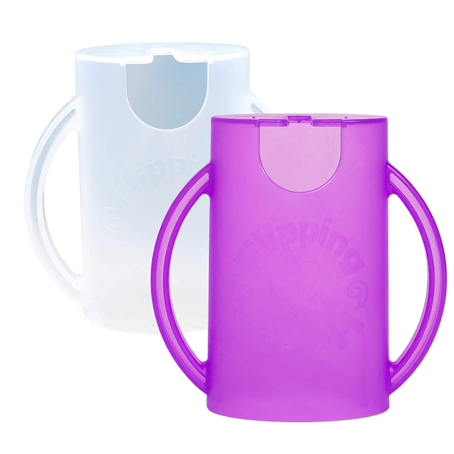 Flipping Holder, Multipurpose Squeeze-Proof Food Pouch Holder and Juice Box Holder (One White, One Purple)