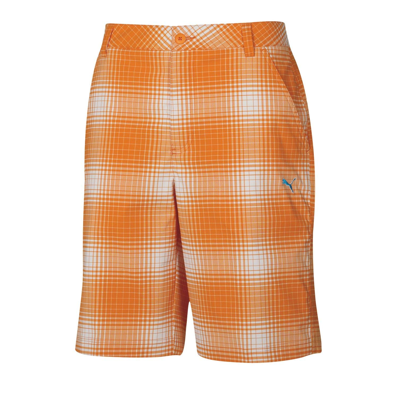 Puma Golf Boy's Ombre Plaid Bermuda, White/Vibrant Orange, Small by PUMA