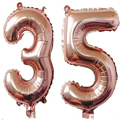 Amazon 40inch Rose Gold Foil 35 Helium Jumbo Digital Number
