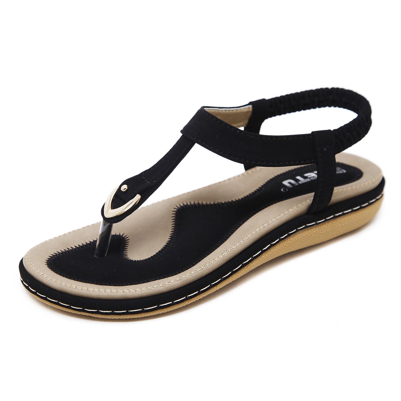 katliu Damen Sommer Sandalen Bouml;hmische Zehentrenner Sommerschuhe Frauen Flach Outdoor Schuhe  38 EU|Schwarz