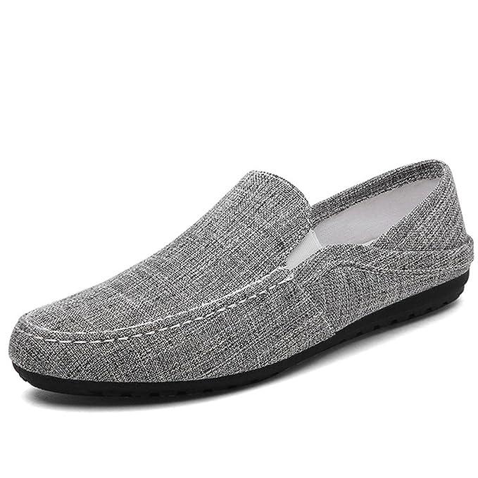 Bridfa Hombre Mocasines Alpargatas de Lona Zapatos de Moda Zapatillas Hombre Casual Alpargatas Hombres Deslizamiento en Zapatos de Cáñamo: Amazon.es: Ropa y ...