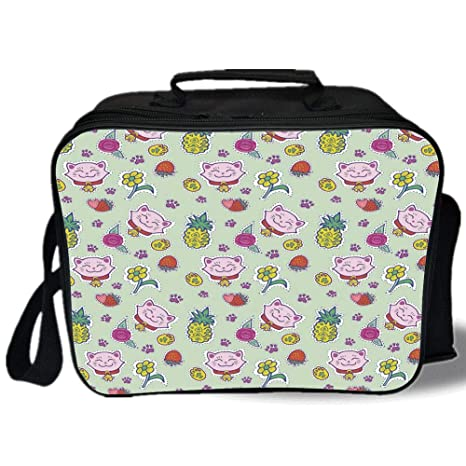 6a9e33774dc9 Amazon.com: Kids 3D Print Insulated Lunch Bag, Cheerful Pattern with ...