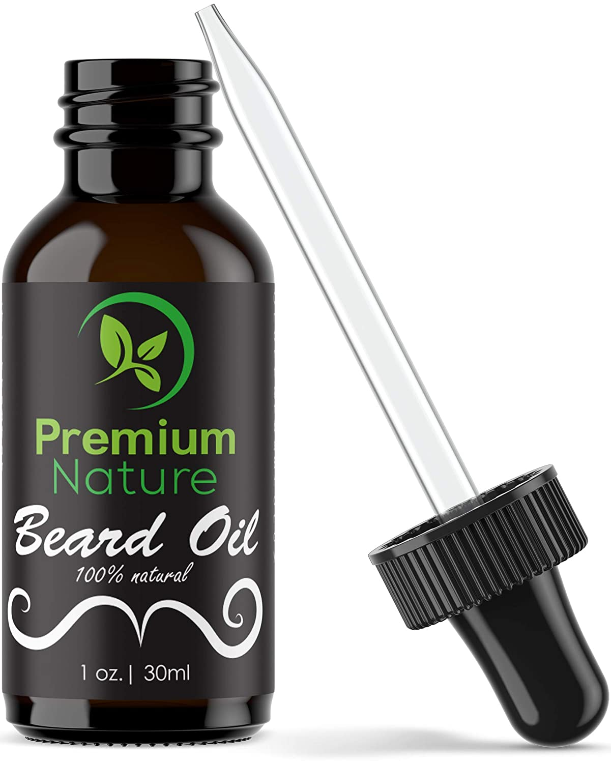 Beard Oil Growth for Men - 100% Natural Beard Softener Conditioner Beard Care Grow Premium Leave In Moisturizer Balm with Jojoba Argan Essential Oil Softens & Strengthens Beards Mustaches 1 oz