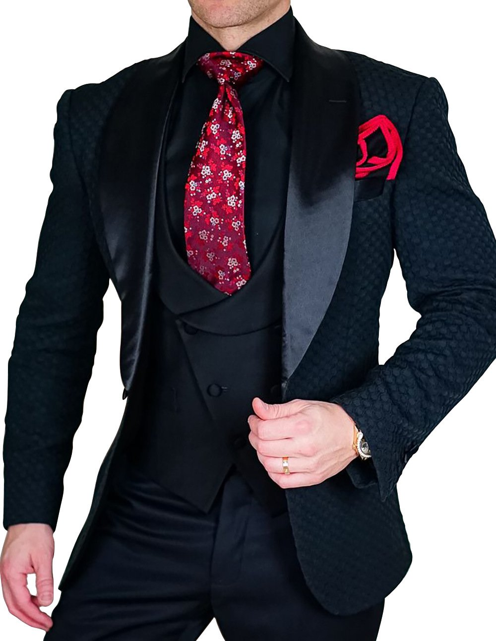 Yunjia Premium Grid Jacquard Paisley Plaid Check Slim Fit Tuxedo Prom Wedding Groom Party Suits Blazers Jacket Coat,Black