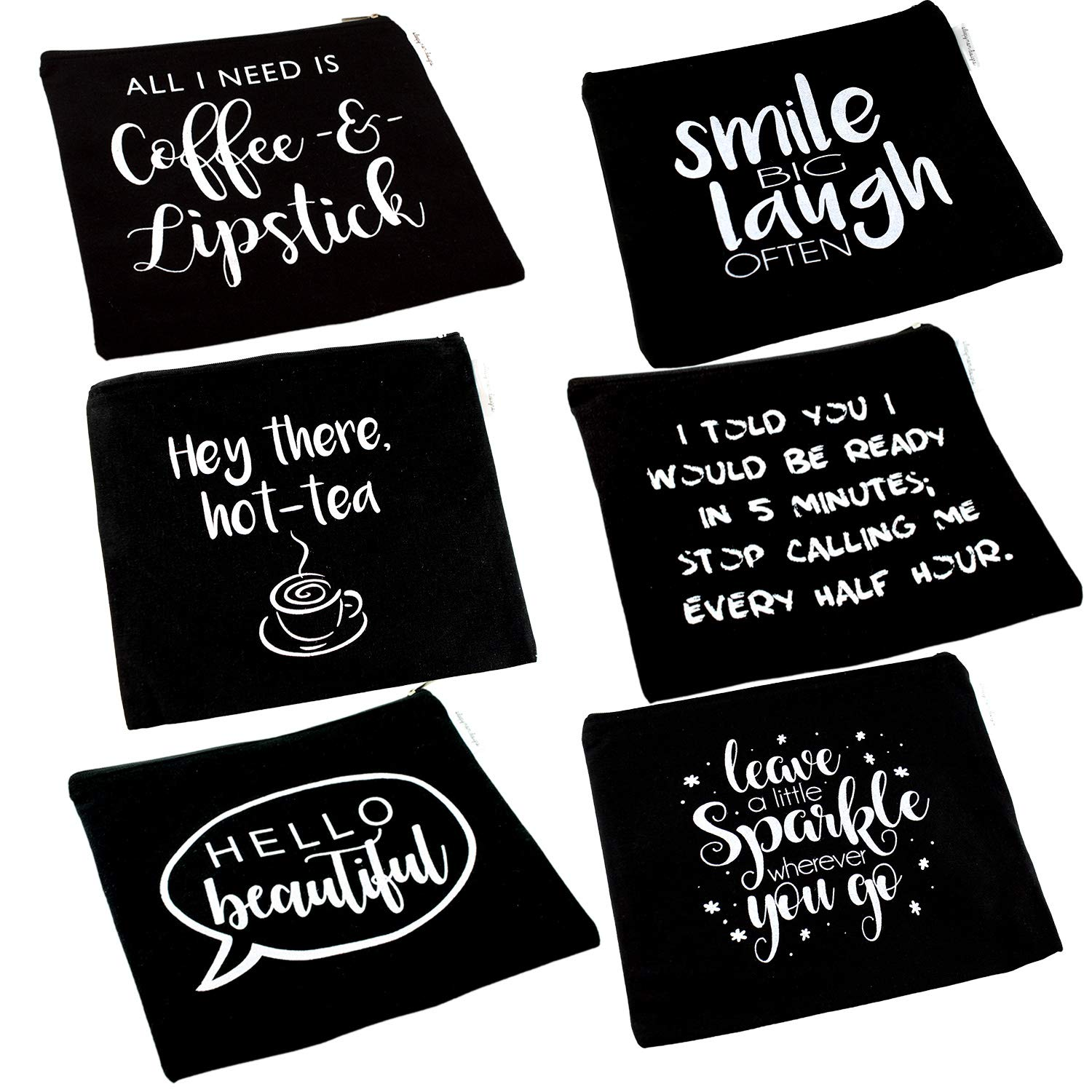 Black Canvas Cosmetic Bag and Travel Makeup Zipper Pouch Organizer Set For Wedding Bridesmaids or Direct Marketing Gifts 8.5 x 7.5 Inches (6 Pack)