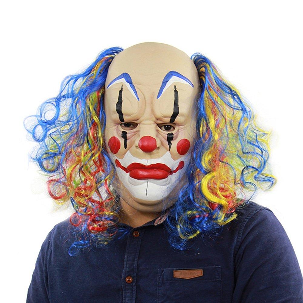 JTWJ Curly Curly Curly Glatze Clown Halloween Prom Outlet Performance Requisiten Horror Ghost lustige Latex Maske babaf0