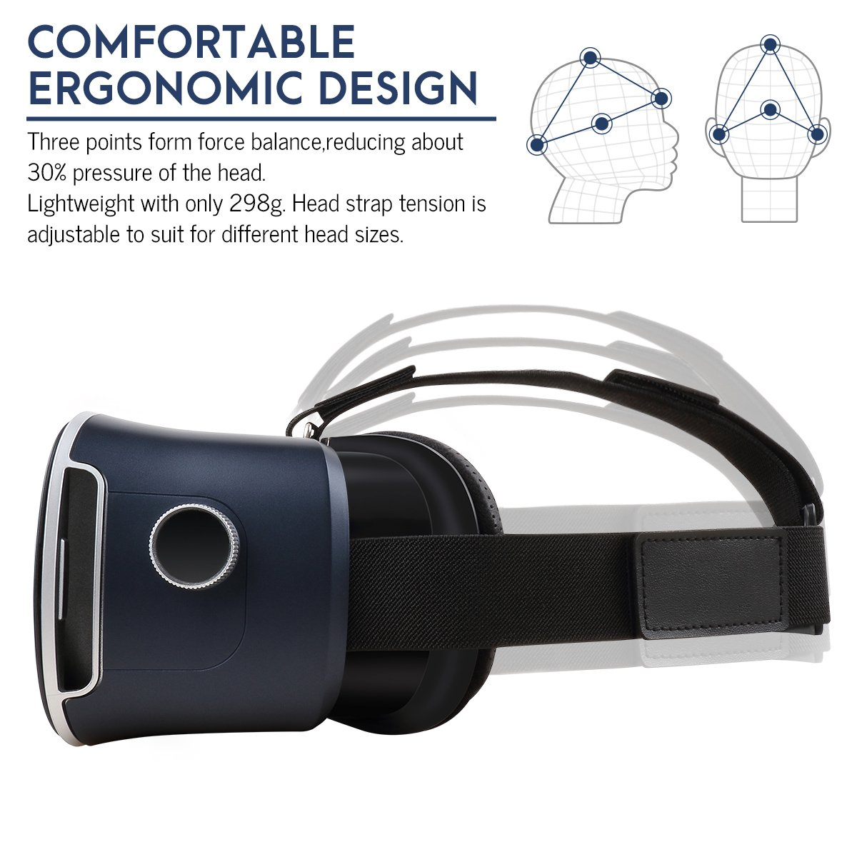 Pansonite 3D VR Glasses Virtual Reality Headset for Games & 3D Movies, Upgraded & Lightweight with Adjustable Pupil and Object Distance for IOS and Android Smartphone by Pansonite (Image #3)